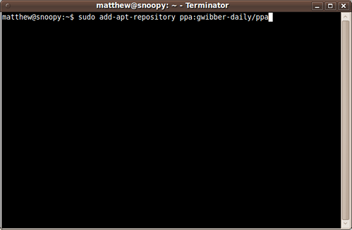 Screen shot of a terminal with the sudo add-apt-repoistory line